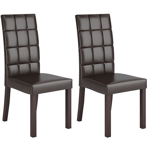 Atwood Solid Wood Brown Parson Armless Dining Chair with Brown Faux Leather Seat - (Set of 2)