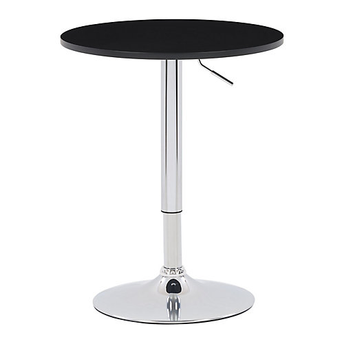 23.5-inch Dia. Adjustable Height Round Wooden Table in Black with Chrome Base