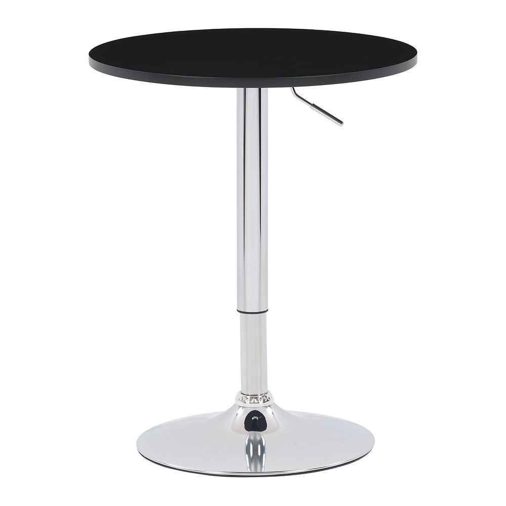 Corliving 23.5-inch Dia. Adjustable Height Round Wooden Table in Black with Chrome Base