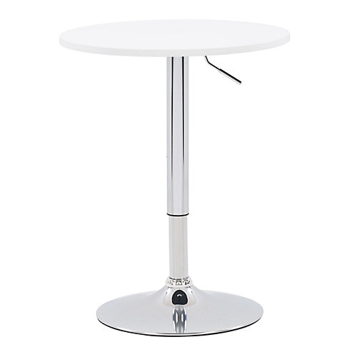 23.5-inch Dia. Adjustable Height Round Wooden Table in White with Chrome Base