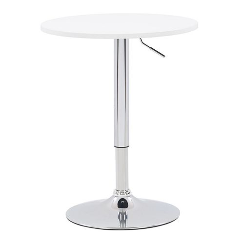 Corliving 23.5-inch Dia. Adjustable Height Round Wooden Table in White with Chrome Base