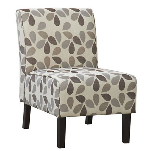 Flora Transitional Slipper Accent Chair in Beige with Floral Pattern