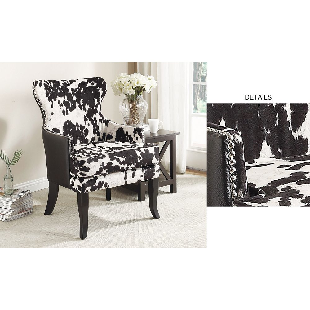 Worldwide Homefurnishings Inc. Angus Rustic Wingback Faux Leather Accent Chair in Black with Animal Print Pattern