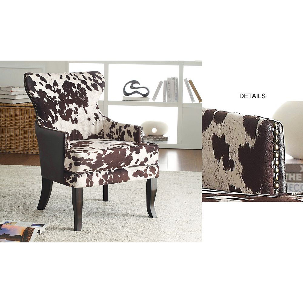 Worldwide Homefurnishings Inc. Angus Rustic Wingback Faux Leather Accent Chair in Brown with Animal Print Pattern