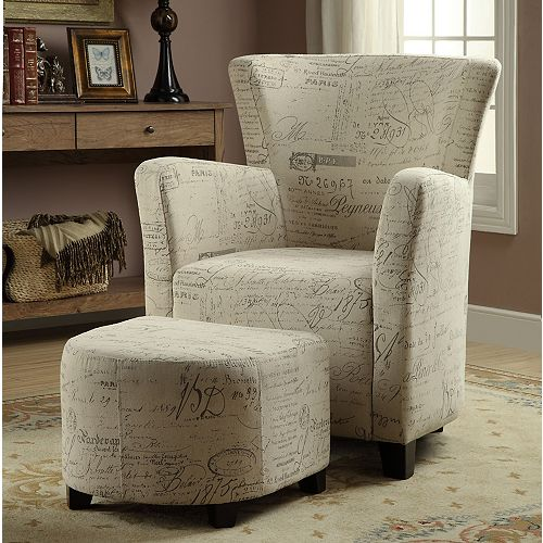 Alicia Contemporary Club Accent Chair in White with Collage Pattern