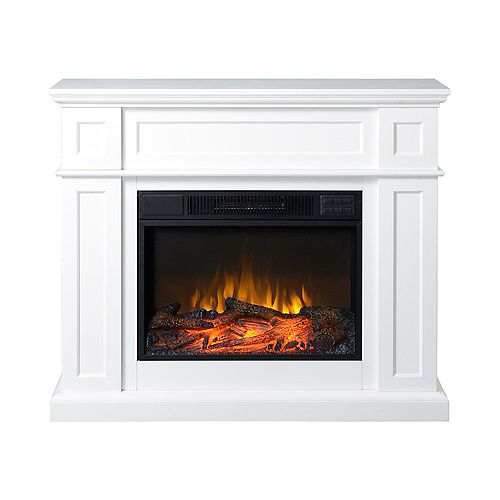 41-inch Electric Fireplace Mantel in White