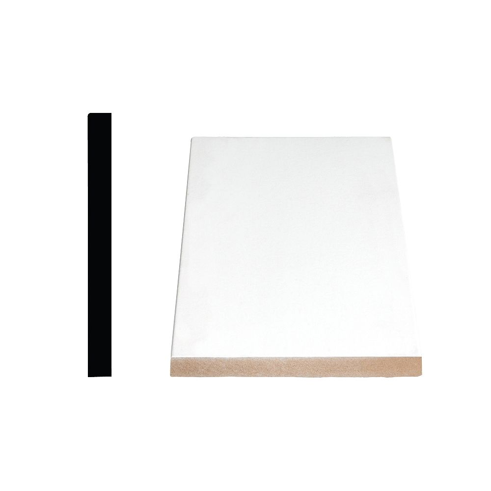 Alexandria Moulding 1/2-inch x 4 1/2-inch x 96-inch Modern MDF Primed Fibreboard Baseboard Moulding