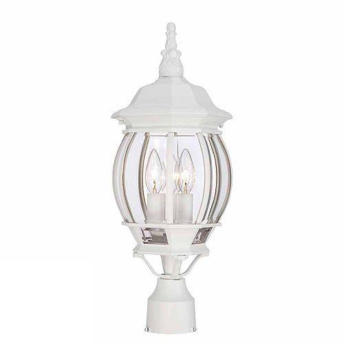 Lampadaire d'extérieur noir, à trois ampoules, 60W, avec diffuseur en verre biseauté transparent