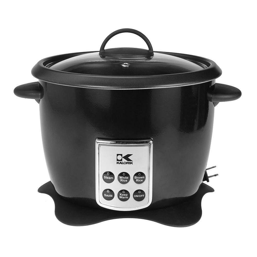 Kalorik Black Multifunction Digital Rice Cooker with Retractable Power Cord