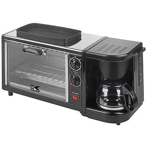 Ensemble petit-déjeuner 3-en-1 machine à café/four/grill