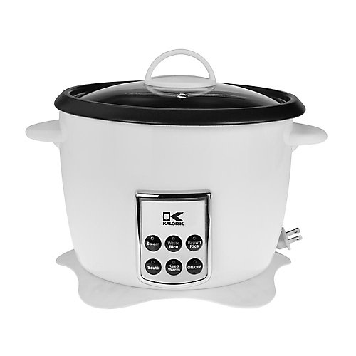 White Multifunction Digital Rice Cooker with Retractable Power Cord