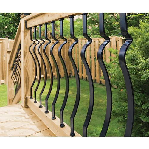 6 ft. W Aluminum Deck Rail Kit with 32-inch L x 1-inch W Baroque Balusters in Black (15-Piece)