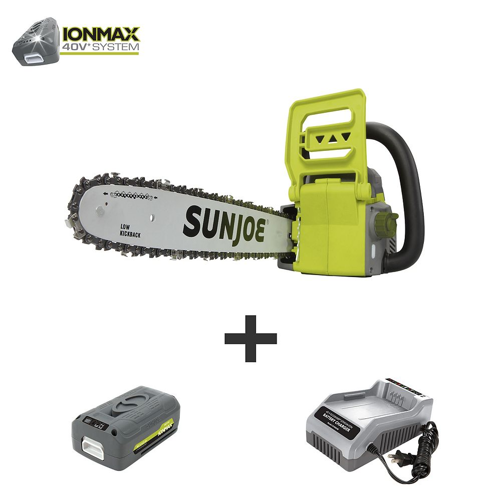Sun Joe 16-inch 40V Electric Cordless Chainsaw Kit with 4.0 Ah Battery + Charger