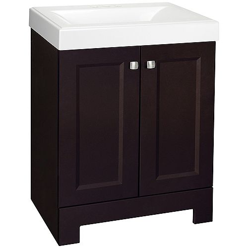 San Leon 24-1/2 In. Vanity in Carob With Cultured Marble Vanity Top In White