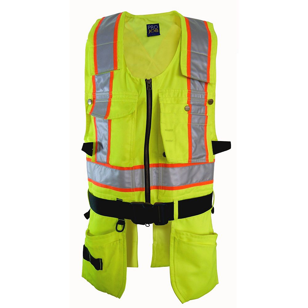 Projob Swedish Workwear CSA Z96-09 High Visibility Multi Purpose Ergonomic Work Vest - Yellow - L