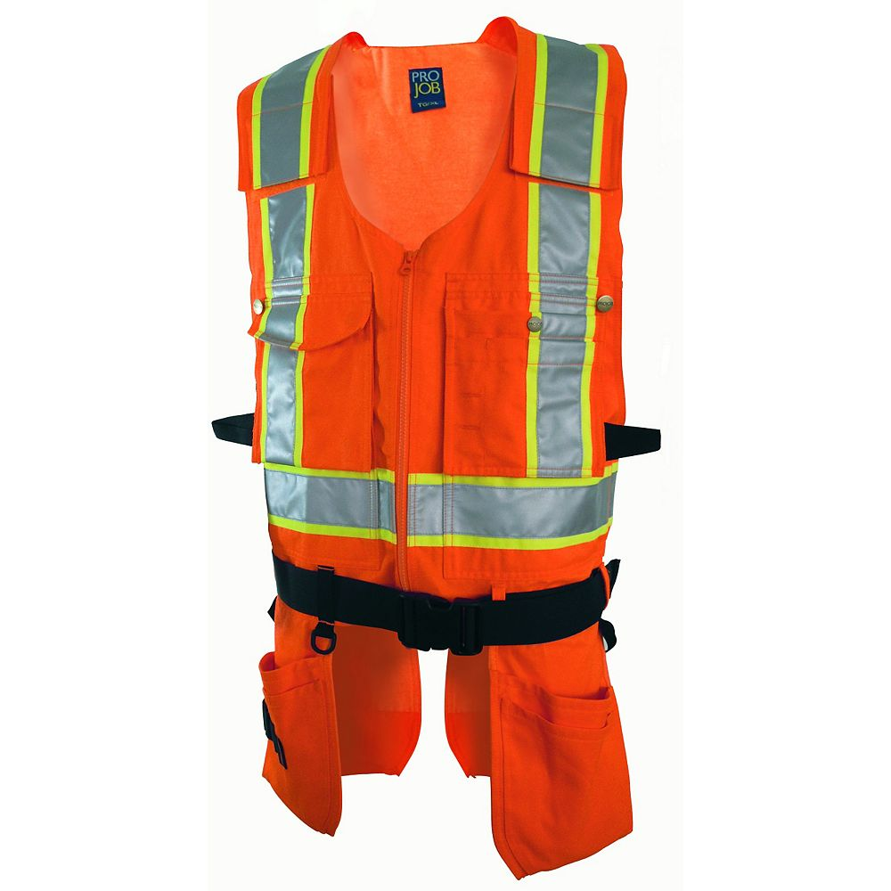 Projob Swedish Workwear CSA Z96-09 High Visibility Multi Purpose Ergonomic Work Vest - Orange - M