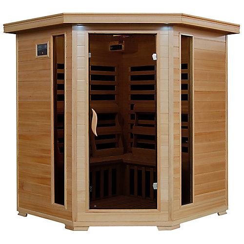 4-Person Hemlock Corner Infrared Sauna with 10 Carbon Heaters