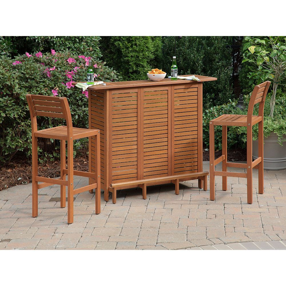 Montego Bay 3-Piece Bar Set includes Bar and Two Stools