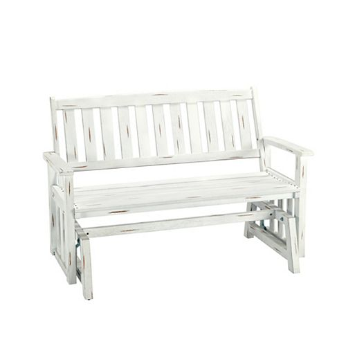 Outdoor Glider Bench Washed White Finish