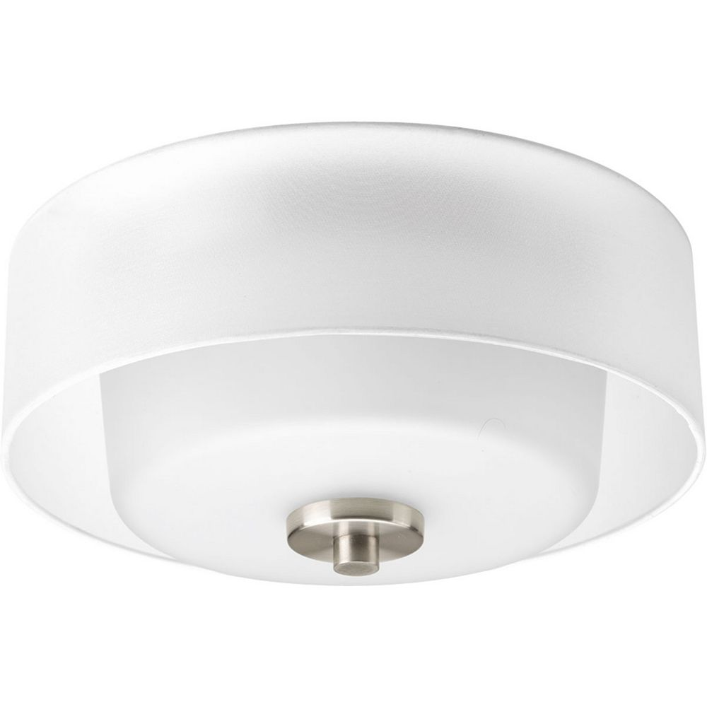 Progress Lighting Invite Collection 2-Light Brushed Nickel Flushmount