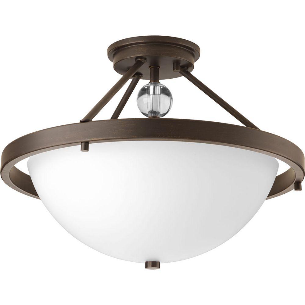 Progress Lighting Compass Collection 2-Light Antique Bronze Semi-Flushmount