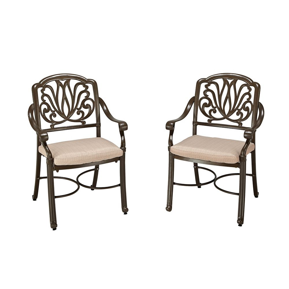 Floral Blossom Patio Arm Chair in Taupe (Set of 2)