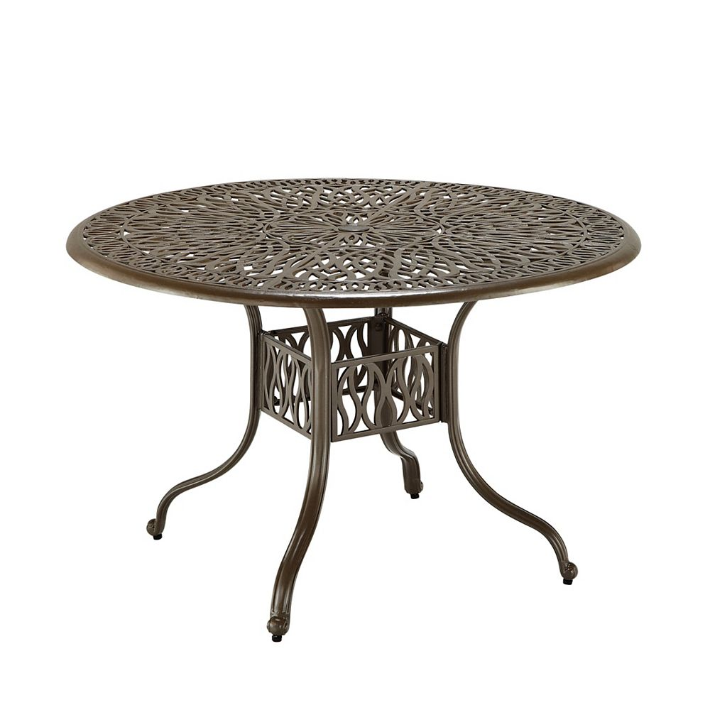 Floral Blossom 42 Inch Round Patio Dining Table In Taupe The Home Depot Canada