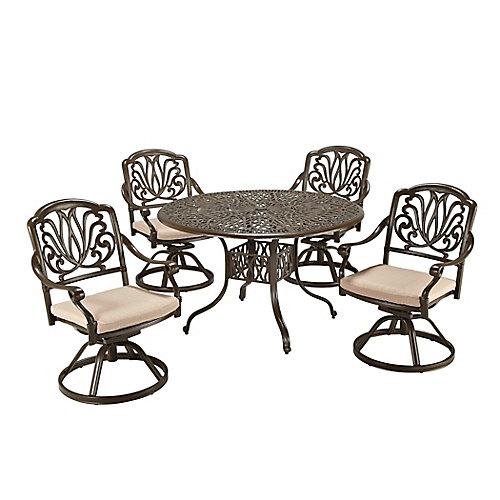 Ensemble de salle à manger de patio de 5 pièces avec table ronde de 48 po et chaises pivotantes en noir