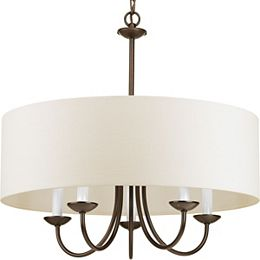 5-Light Antique Bronze Chandelier with Shade