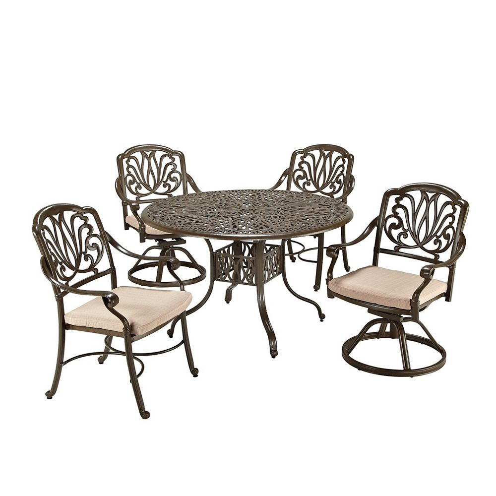 Floral Blossom 5-Piece Patio Dining Set with 48-inch Round Table and Dining Chairs in Black
