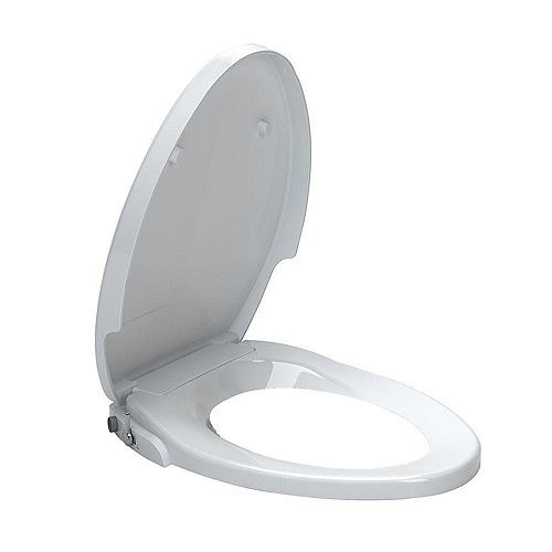 AquaWash Non-Electric Slow Close Bidet Seat for Elongated Toilets in White