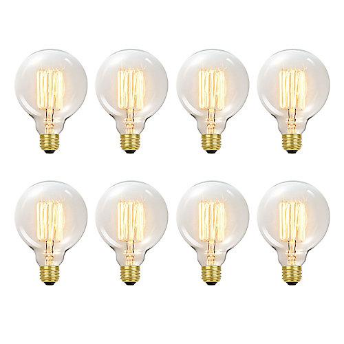Ampoule Vintage edison incandescent G40 60 watt, couleur edison antique, paquet de 8