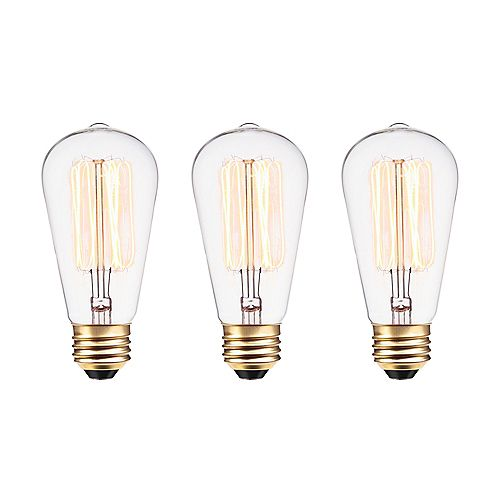 Edison Vintage 60W Incandescent S60 Squirrel Cage Vintage Filament Light Bulb with E26 Base (3-Pack)