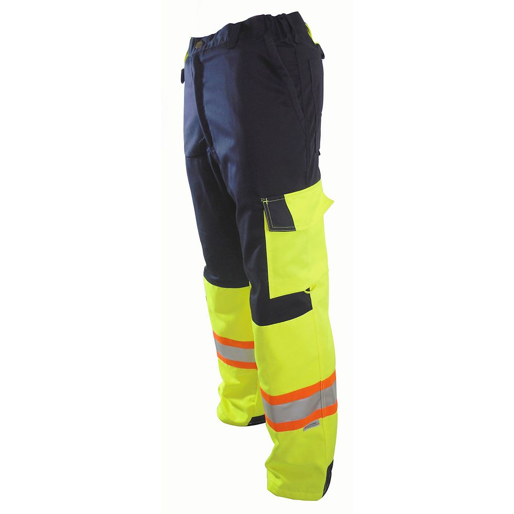 Projob Swedish Workwear CSA High Visibility Cargo Type Flat Front Protector Men's Work Pants in Yellow 42X34