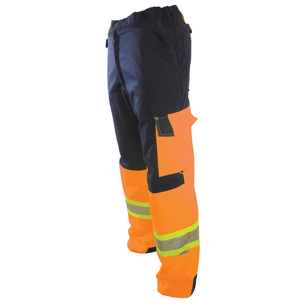 Projob Swedish Workwear CSA High Visibility Cargo Type Flat Front Protector Men's Work Pants - Orange - 36X30