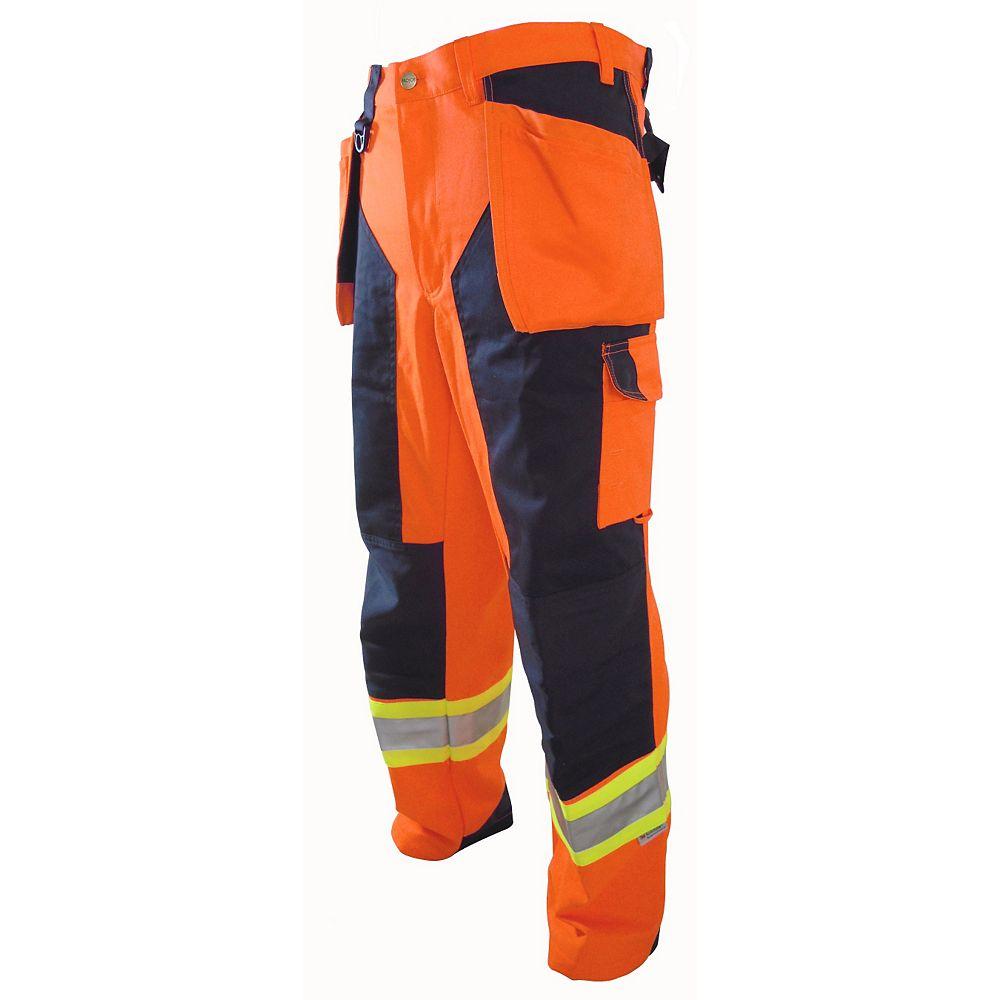 Projob Swedish Workwear CSA High Visibility Cargo Type Multi Pocket Protector Men's Work Pants - Orange - 38X32