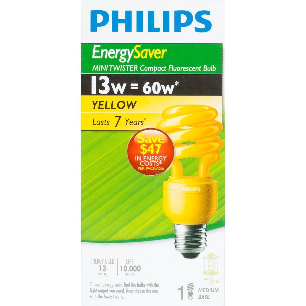 Philips CFL 13W Mini Twister Yellow - Case of 6 Bulbs