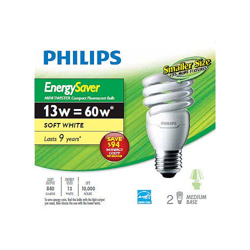 Philips 13W = 60W Soft White (2700K) Mini Twister CFL Light Bulb- (12-Pack)