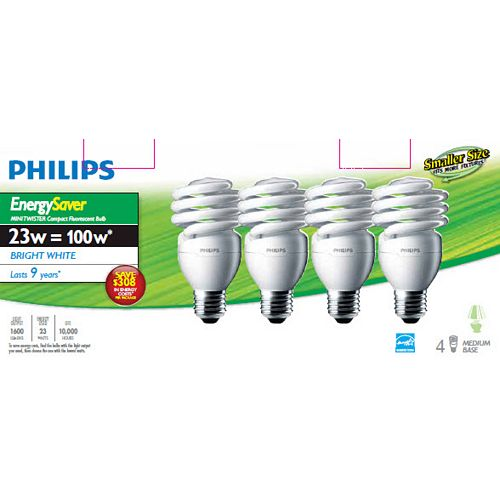 CFL 23W = 100W Mini Twister Bright White (5000K) - Case of 24 Bulbs