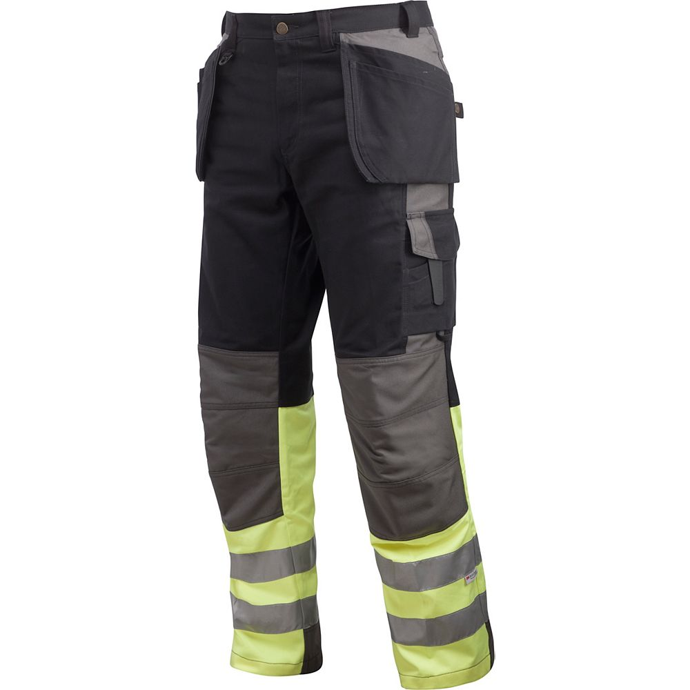 Projob Swedish Workwear Men's Cotton Cargo Type Protector Vis Work Pants - Black - 34X30