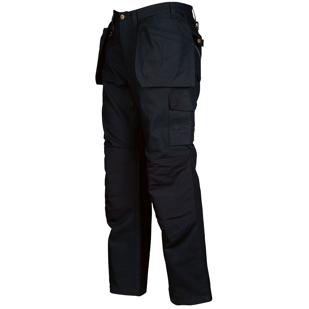 Projob Swedish Workwear Cotton Cargo Type Protector Men's Work Pants - Black - 38X30