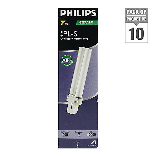 7W PL-S Warm White 2-Pin CFL Light Bulb (10-Pack)
