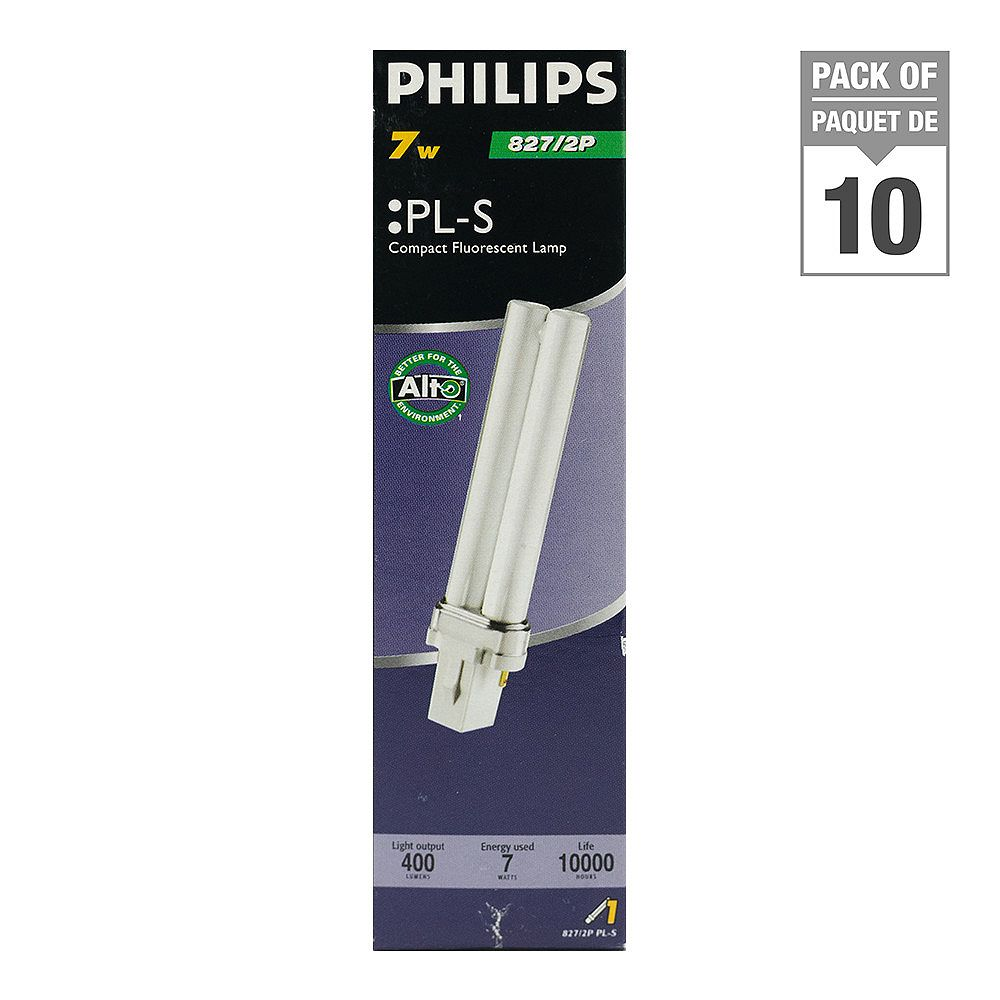 Philips 7W PL-S Warm White 2-Pin CFL Light Bulb (10-Pack)