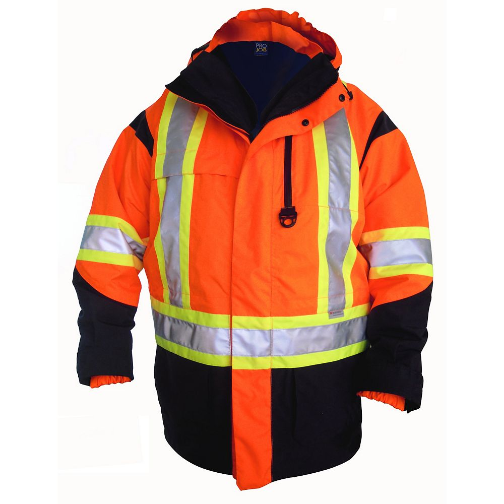 Projob Swedish Workwear CSA High Visibility 6 in 1 All Weather Parka - Orange - S