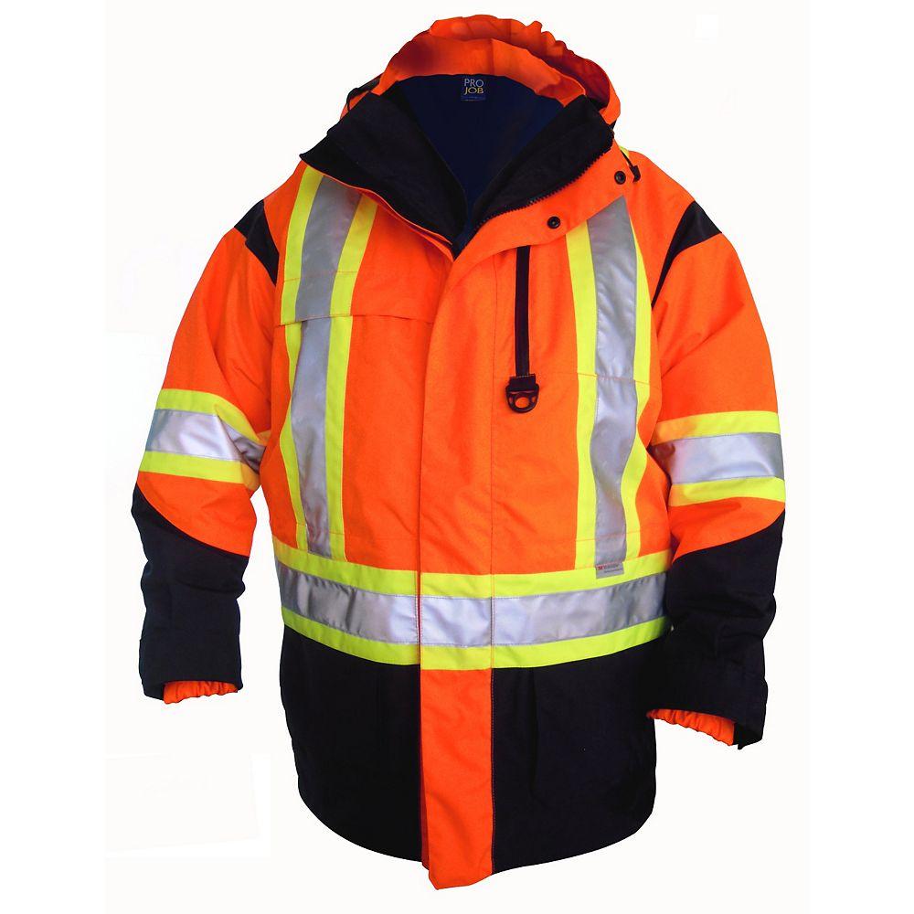 Projob Swedish Workwear CSA High Visibility 6 in 1 All Weather Parka - Orange - M
