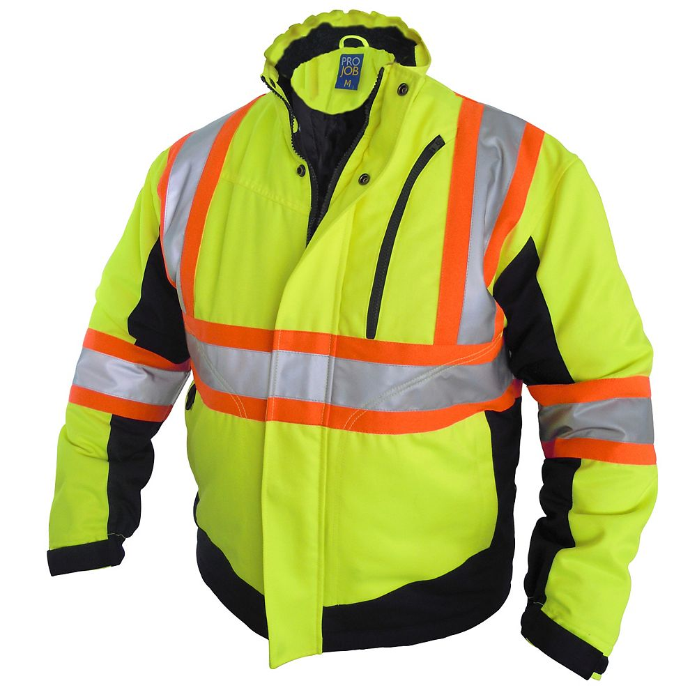 Projob Swedish Workwear CSA High Visibility Winter Lined Work Jacket - Yellow - L