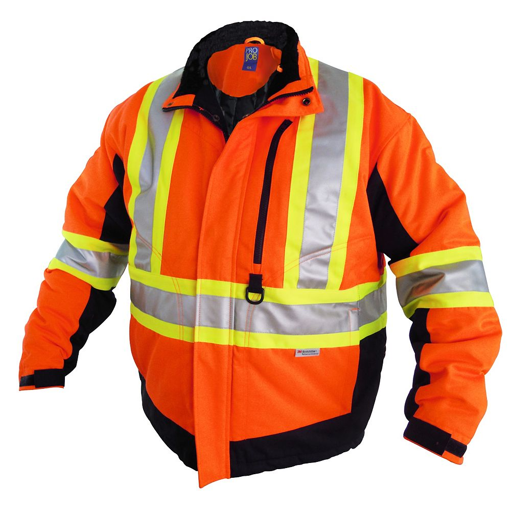 Projob Swedish Workwear CSA High Visibility Winter Lined Work Jacket - Orange - M