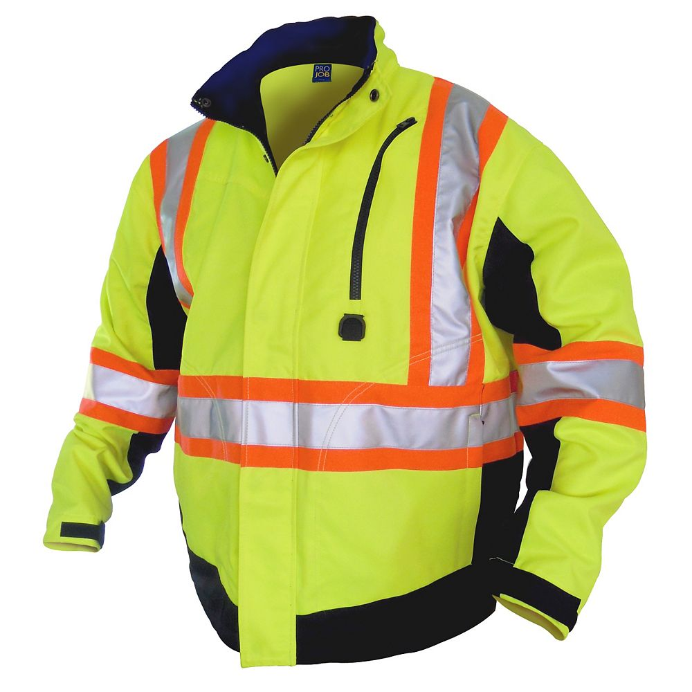 Projob Swedish Workwear CSA High Visibility Unlined Spring and Summer All Purpose Work Jacket - Yellow - XXL