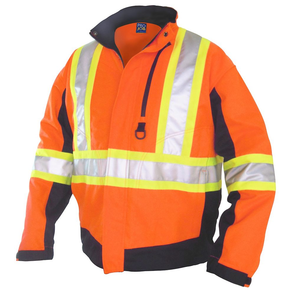 Projob Swedish Workwear CSA High Visibility Unlined Spring and Summer All Purpose Work Jacket - Orange - L