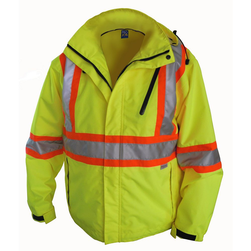 Projob Swedish Workwear CSA High Visibility Wind and Waterproof Rain Jacket - Yellow - XXXXL